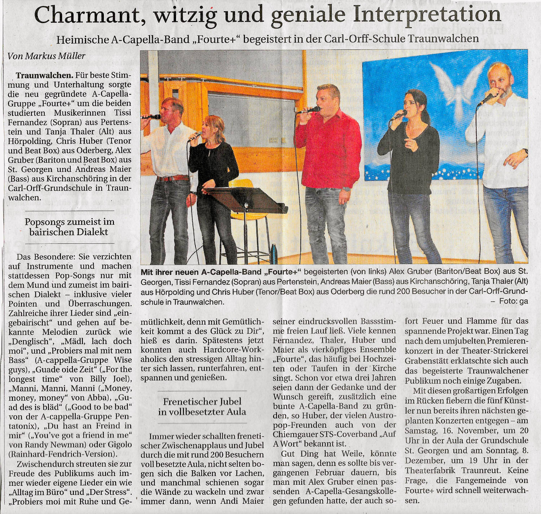 Fourte+ Fourteplus Forteplus plus Forte+ A Capella A Cappella bairisch bayerisch bayrisch Zeitungsbericht Pressetext